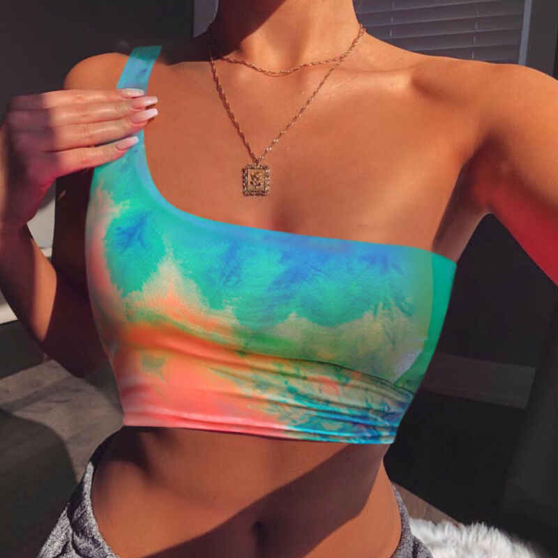 Summer Holiday Colorful Dye Print Women Tank Top Vest One shoulder Crop Top T-Shirt Cami Top