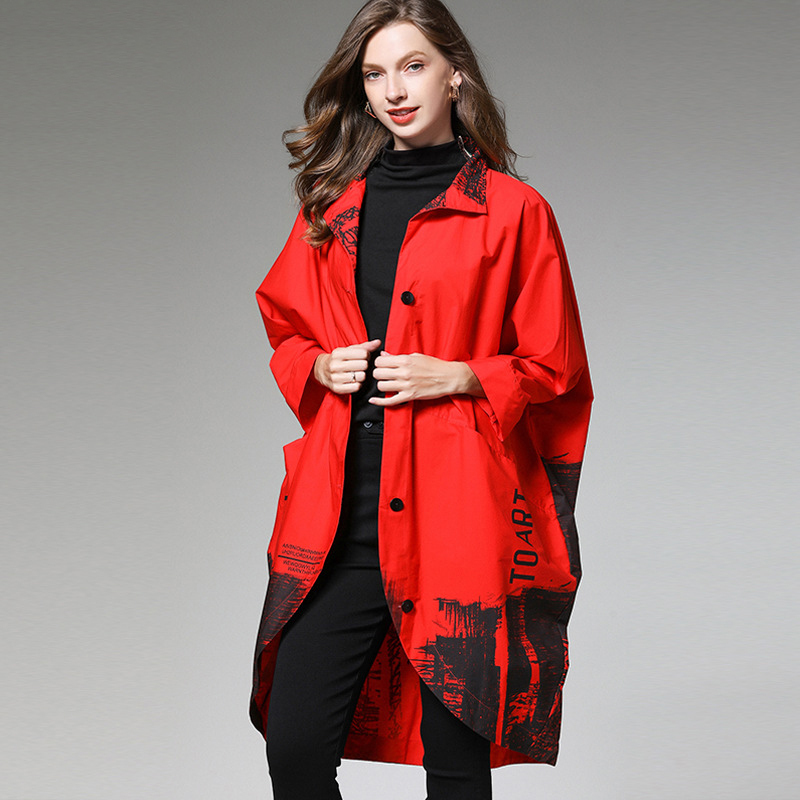 LANMREM 2020 New Fashion Women Trend Wild Large Size Printed Stand Collar Wide Waisted Loose Bating Sleeve Long Coat AI984