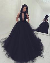Sexy sem costas halter preto longo vestidos de baile 2020 robe de mariee vestido de baile com decote em v profundo vestido de festa de gala