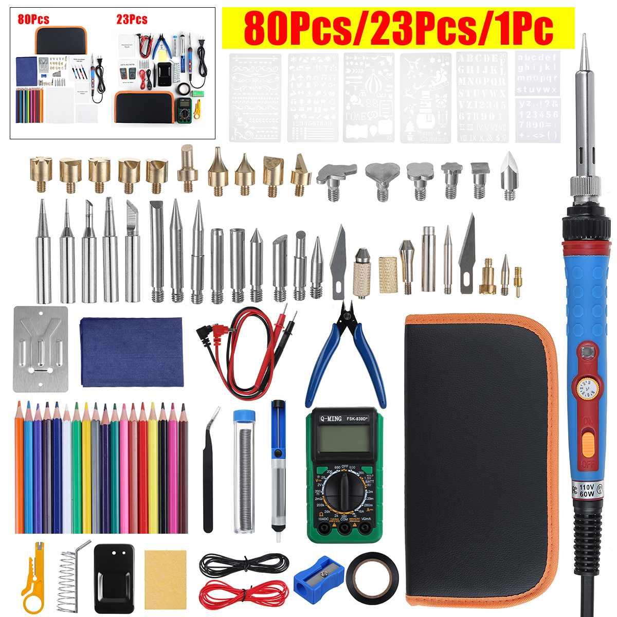 60W Electric Soldering Iron Adjustable Temperature Digital Multimeter Wood Burning Pen Wire Stripper Cutter Welding Equipment