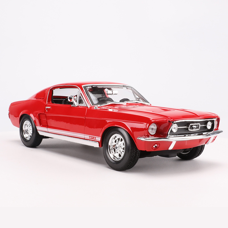 1967 Mustang Gt Muscle Car <font><b>1</b></font>:<font><b>18</b></font> Diecast Model Cars Static Simulation Alloy Mini Car Collection Toys Metal Car Miniatures <font><b>Voiture</b></font> image