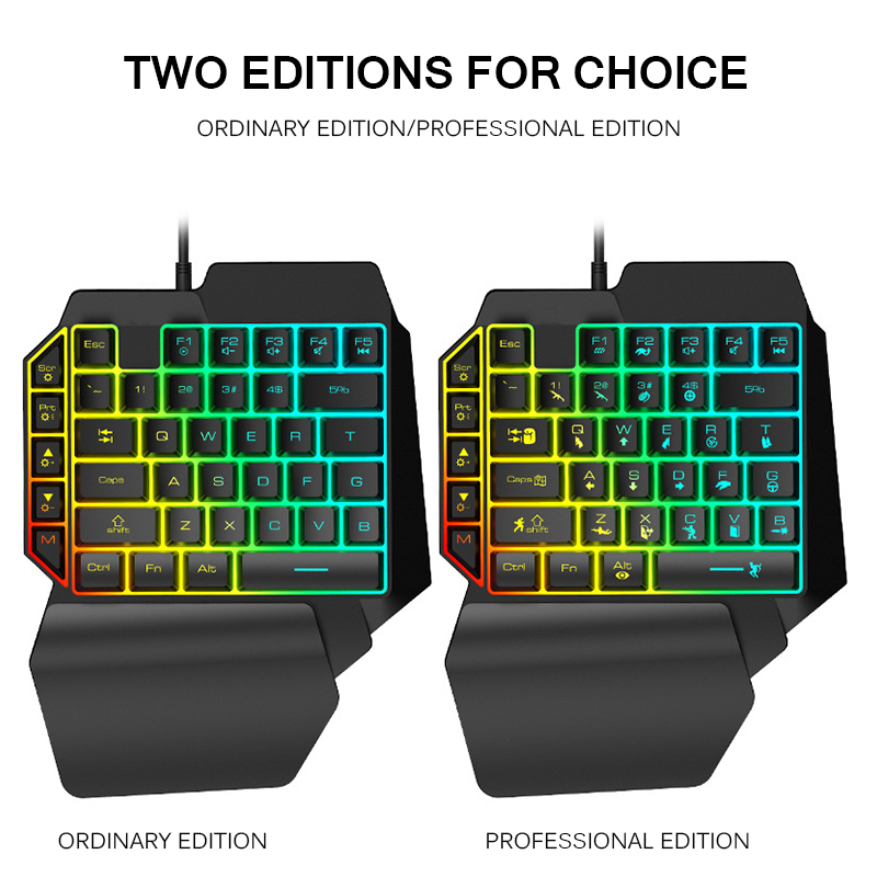 Game Keyboard New Wired Gaming Keypad With LED Backlight 39 Keys One-Handed Membrane Keyboard For Gamer Floating LED Backlight
