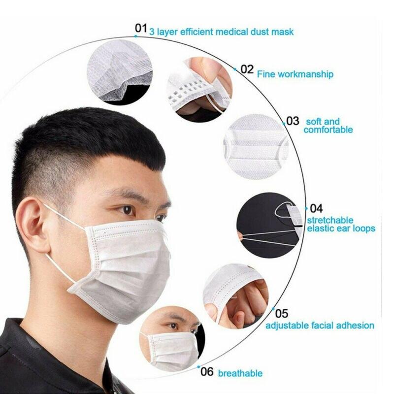 10PCS Children Face Masks 3 Layer Elastic Mouth Mask Anti-Flu Kids Disposable Mask Soft Breathable PM2.5 Nonwoven White Blue Hot 2