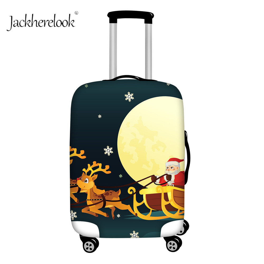 Cartoon Christmas Moose Travel Suitcase Protect Cover New Year Necessary Luggage Case Santa Claus Design Bag Apply 18-32 Baggage