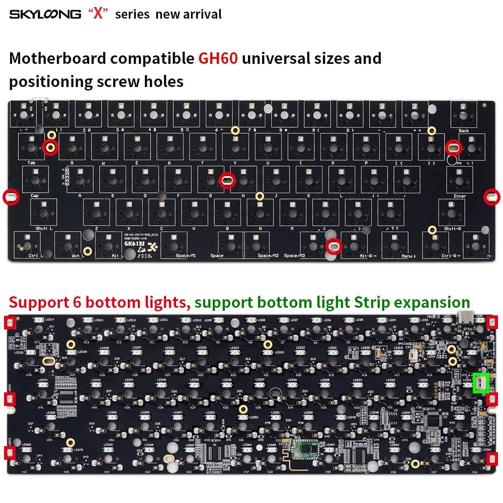 Image 4 - gk61 gk61x 60% custom mechanical keyboard rgb switch leds hot swapping socket powerful software type c pcb split spacebarKeyboards   - AliExpress