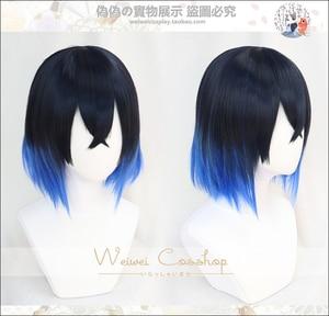 Image 1 - Hashibira Inosuke קצר כחול Ombre פאה קוטלת שד Kimetsu לא Yaiba חום עמיד שיער Cosplay תלבושות פאות + פאה חינם כובע