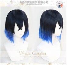 Hashibira Inosuke peluca azul corta degradado Demon Slayer Kimetsu no Yaiba, resistente al calor, pelucas de cabello Cosplay + gorro de peluca gratis
