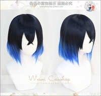 Hashibira Inosuke Kurz Blau Ombre Perücke Dämon Slayer Kimetsu keine Yaiba Wärme Beständig Haar Cosplay Kostüm Perücken + Freie Wig kappe