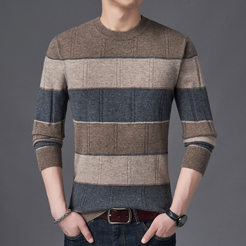Mens 100% Wool Knit Tops Sweater Pullover Basic O Neck for Autumn Winter Patchwork Fashion Casual BO22511229