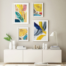 Nordic Colorful Scandinavian Poster Golden Abstract Canvas Painting Feather Wall Art Print Pictures for Living Room Home Decor birds abstract nordic wall pictures poster print canvas painting calligraphy decor for living room bedroom home decor frameless
