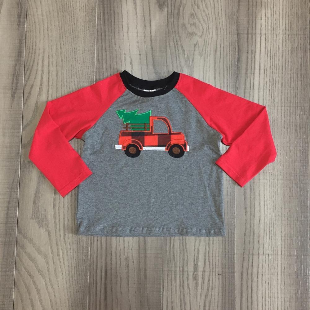 Girlymax Christmas Fall/Winter Baby Boys Boutique T-shirts Clothes Truck Plaid Tree Grey  Cotton Top Raglans Long Sleeve 1