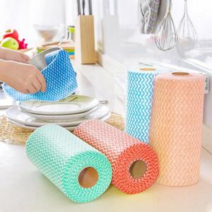 1Roll Non-Woven Fabric Wiping Cleaning Cloth Towels Kitchen Towel Disposable Striped Practical Rags Souring Pad Household Tools