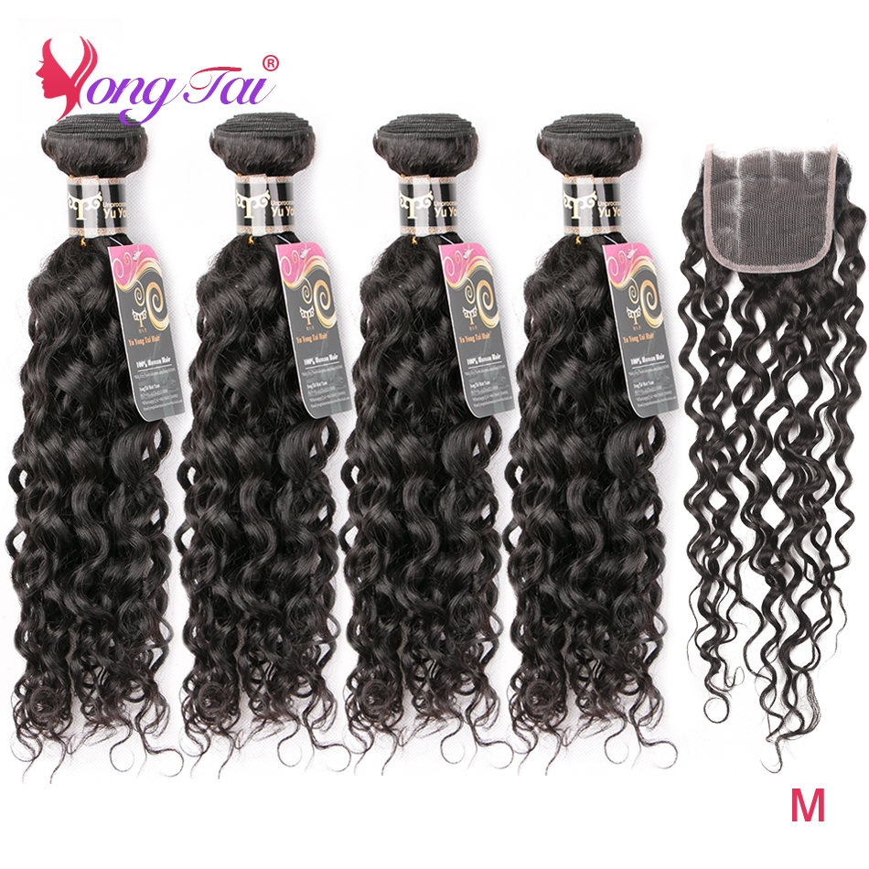 YuYongtai Indian Water Wave 4 Bundles With Closure Human Hair Weave 4*4 Lace Closure Natural Black Non Remy Hair Middle Ration