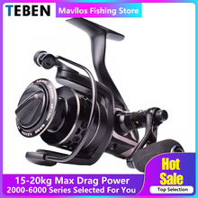 Teben Kowloon Freshwater Carp Spinning Fishing Reel Saltwater Max Drag 15-20kg Surf Jigging 3000 6000 Metal Handle