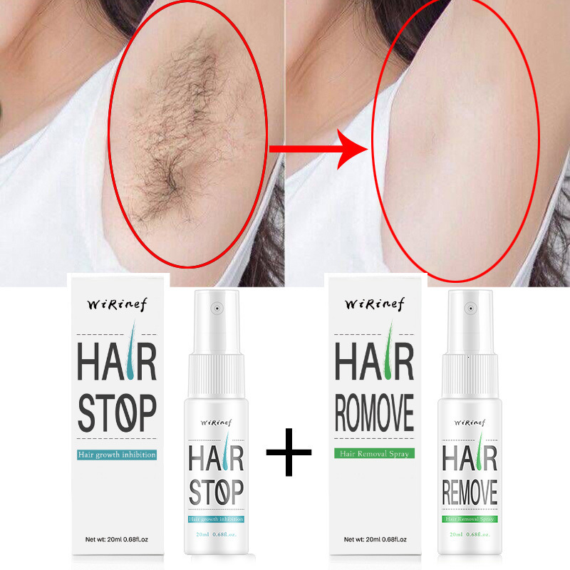 1 Set Powerful Permanent Painless Stop Hair Removal Spray And Stop Hair Growth Inhibitor Shrink Pores Skin Smooth Repair Essence