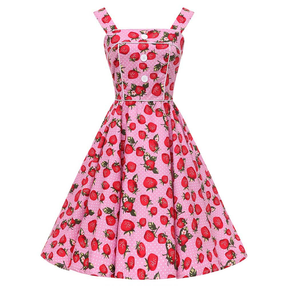 Rockabilly Full Circle Vintage <font><b>Dress</b></font> Summer Backless <font><b>Sexy</b></font> Button 50s Large Swing <font><b>Pink</b></font> <font><b>Blue</b></font> Strawberry Print Polka Dot <font><b>Dresses</b></font> image