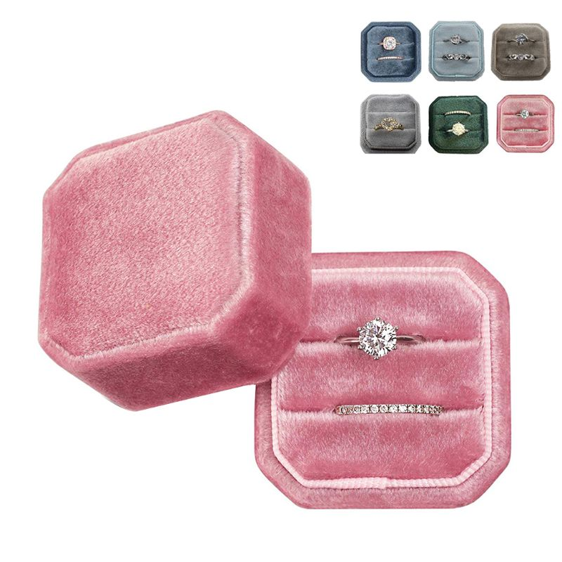 Octagon Velvet Ring Box Double Ring Display Holder With Detachable Lid Ring Box Holder For Wedding Ceremony