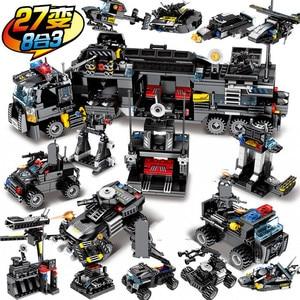 695Pcs City SWAT Police Truck Building Blocks Sets Ship Helicopter Vehicle Playmobil Brinquedos Bricks Educational Kids Toys(China)