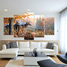 5 Panel Forest Deer Autumn Landscape Modern Wall HD Printed Canvas Painting Art Modular Poster Home Decor Living Room Pictures