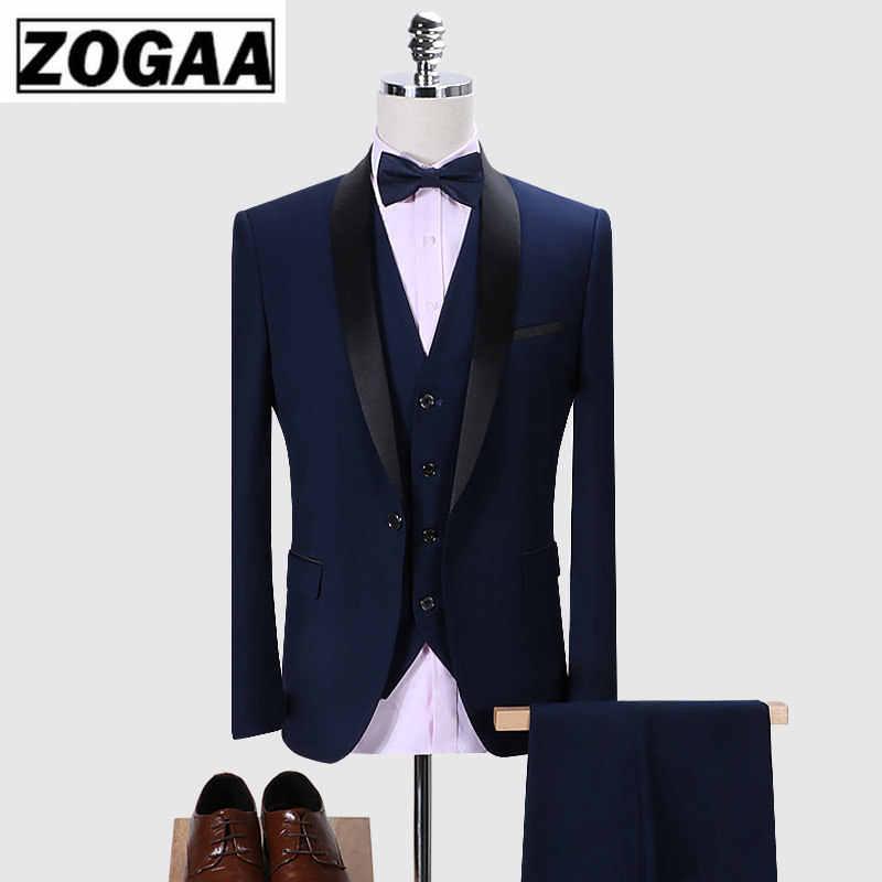 ZOGAA ブランド男性スーツ 2019 結婚式のスーツショールカラー 3 枚スリムフィットブルゴーニュスーツメンズロイヤルブルータキシードジャケット