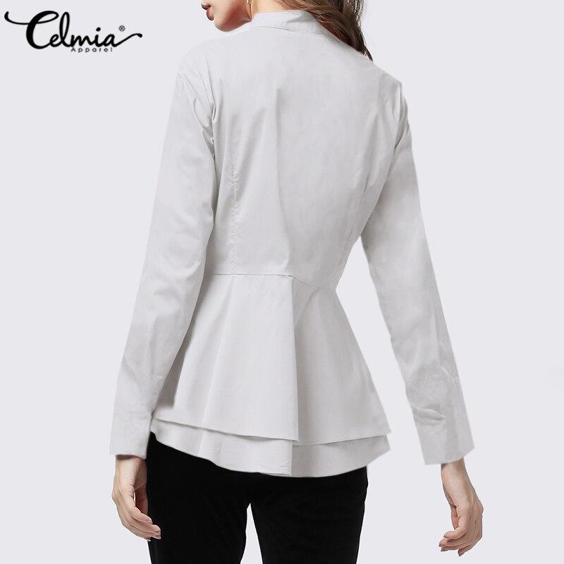 Celmia Ruffles Hem Lapel Shirt Top 2020 Autumn Office Elegant Celmia Long Sleeve Casual Blouse Plus Size Solid Buttons Blusas