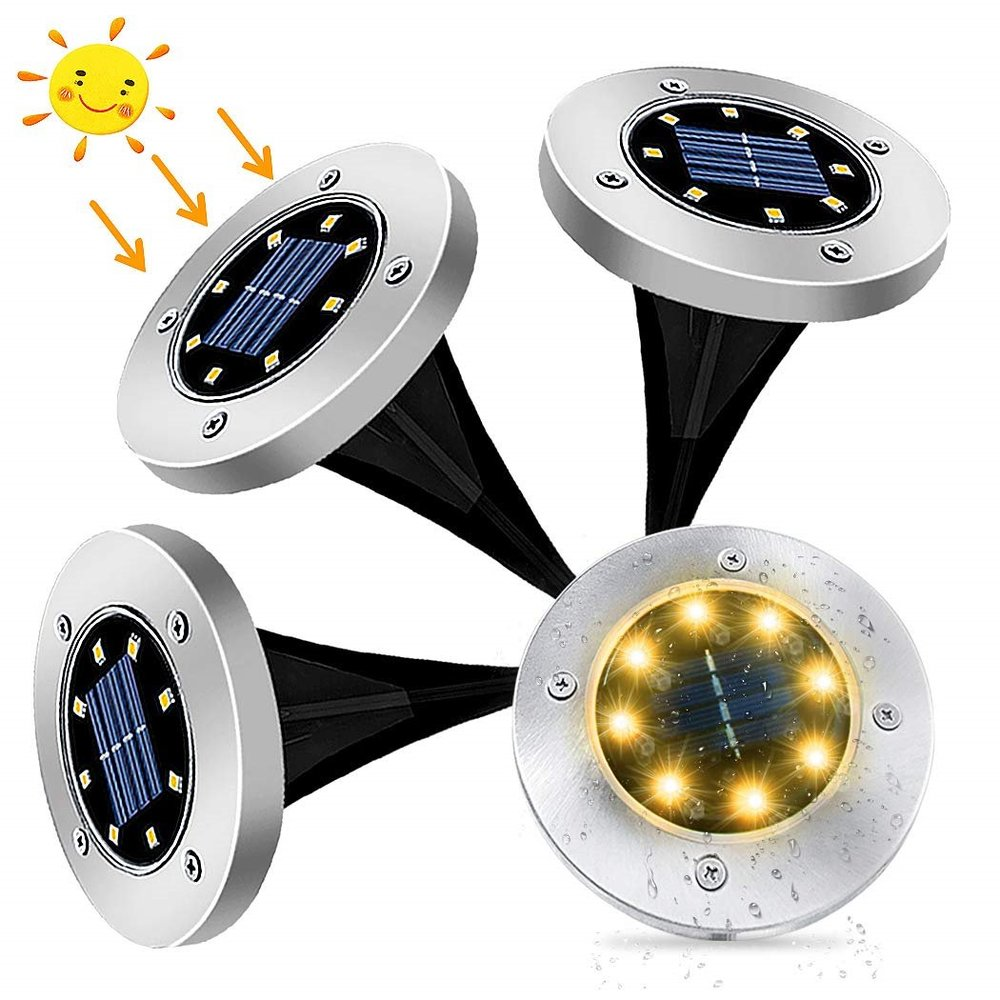 2pcs/4pcs LED Sensor Solar Powered Outdoor In-Ground Light Waterproof Disk Buried Lamp Solar Garden Light For Pathway Patio Lawn