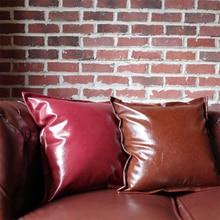 45X45 см винтажная Красная кожаная квадратная наволочка для подушек, зимняя наволочка для подушки, Декор для дома и офиса