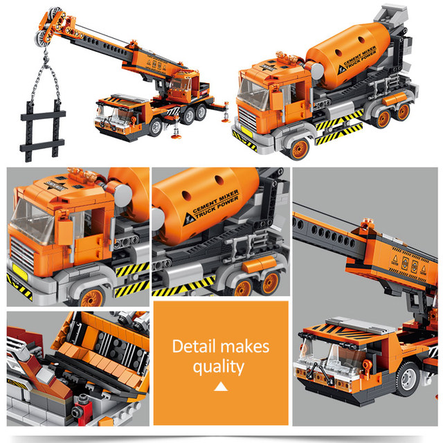 City Creator Engineering Mechanical Crane Vehicle Technic Car Forklift Truck Excavator Building Blocks Toys for Children