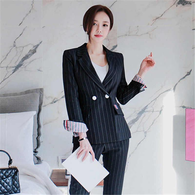 Genayooa 高品質ブレザースーツ女性スーツセット 2 個女性スーツオフィスセット韓国エレガントなストライプパンツオフィス女性セット
