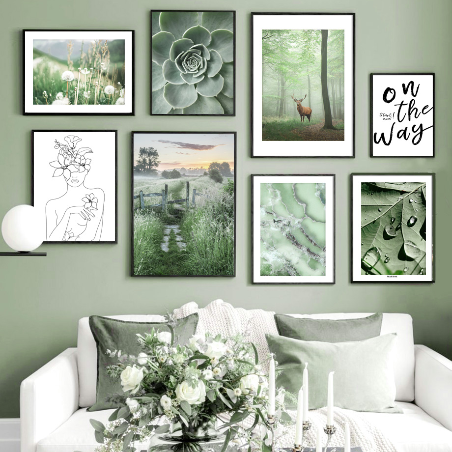 Toile d'art mural avec motif cerf vert pour décoration, affiches et imprimés nordiques
