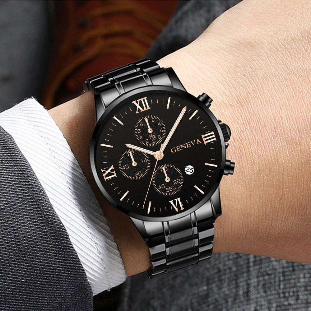 Geneva Business Watches Luxury Men'S Stainless Steel Male Quartz Watch Man Wristwatch Military Sport Clock Relogio Masculino
