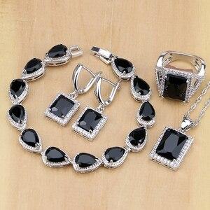 Image 1 - Квадратные ювелирные изделия из серебра 925 пробы с черным цирконием и белым кубическим цирконием, комплекты украшений для женщин, серьги/кулон/ожерелье/кольца/браслет