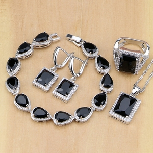 Image 1 - Square 925 Silver Jewelry Black Zircon White CZ Jewelry Sets For Women Earrings/Pendant/Necklace/Rings/Bracelet