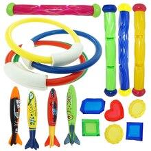 Diving Torpedo Rocket Throwing Toys Pool Diving Game Summer Torpedo Robber Child Underwater Diving Stick Play Water Toy 19 Pcs