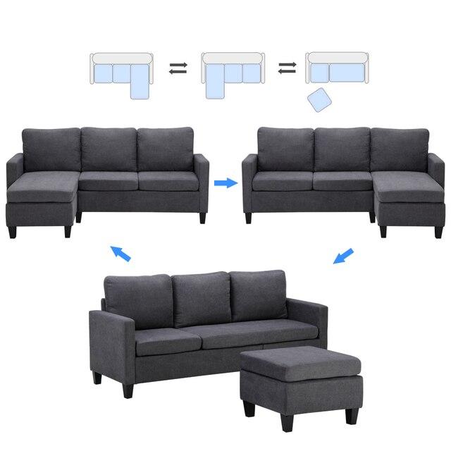 196x68x80CM Double Chaise Sofa Dark Grey  4