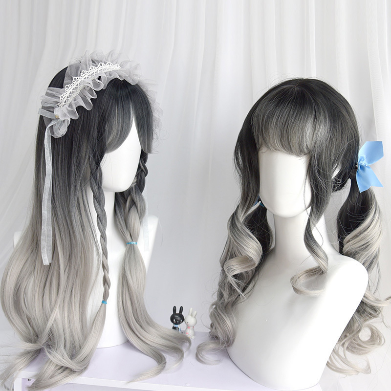 Lolita Daily Cosplay Wigs For Women Heat Resistant Synthetic Hair Gray Sliver Long Kinky Wave/Curly Hair+free Hair Cap