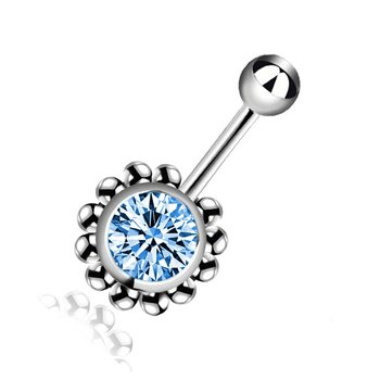 Creative Rhinestone Sun Flower Dangle Navel Rings Belly Button Rings Allergy-free Body Jewelry Navel Piercing Rings Q00093 image