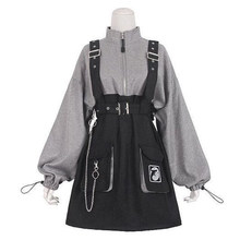 2021 rétro Vintage Femmes Gothique Filles Punk Mini Robe Taille Haute À Manches Longues Chapeau Col Sexy Gris Noir Lolita Grande Taille Jurken