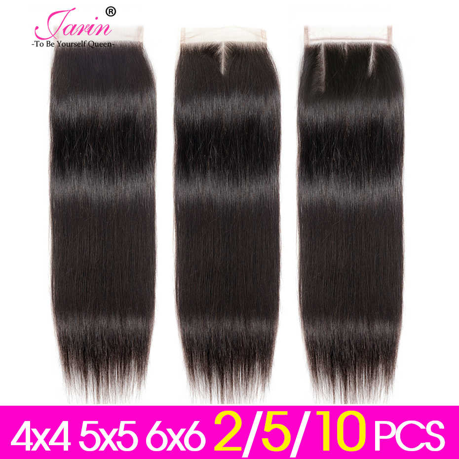 Jarin Hair 2-5-10 Pieces/lot Straight Lace Closure 4x4 5x5 6x6 Free/Middle/Three Part Peruvian Human HairLace Closure Remy