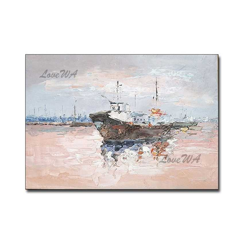 Interior Decorative Canvas Wall Art Sailing Boat Abstract Textured Oil Painting Pure Handmade Simple Paintings Artwork Calligraphy Aliexpress