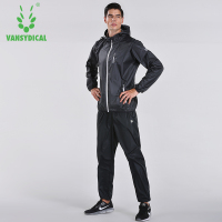 Vansydical Sports Clothing Sauna Suit Mens Gym Running Set Outdoor Fitness Lose Weight Jogging Suit Quick Sweating Sportswear