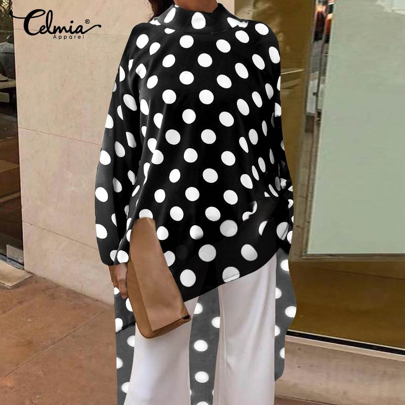 Women Tops and Blouses 2020 Celmia Female Autumn Long Sleeve Asymmetrical Casual Shirts Loose Dot Print Blusas Mujer Plus Size
