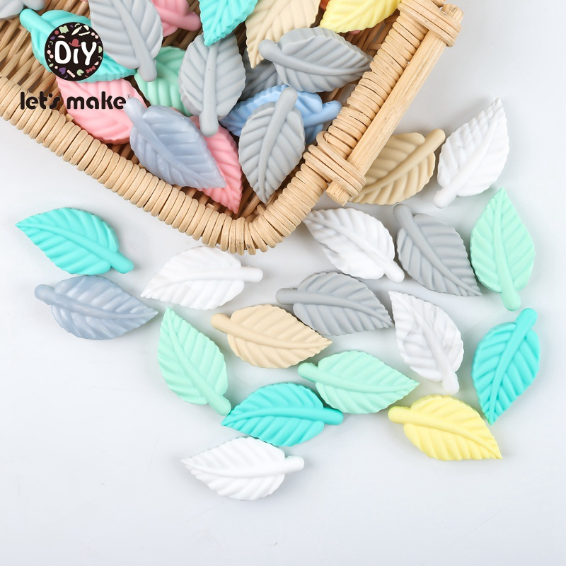 Let's Make 10pc Baby Silicone Teething Beads BPA Free Silicone Leaves Baby Teether Food Grade DIY Pacifier Chain Accessories