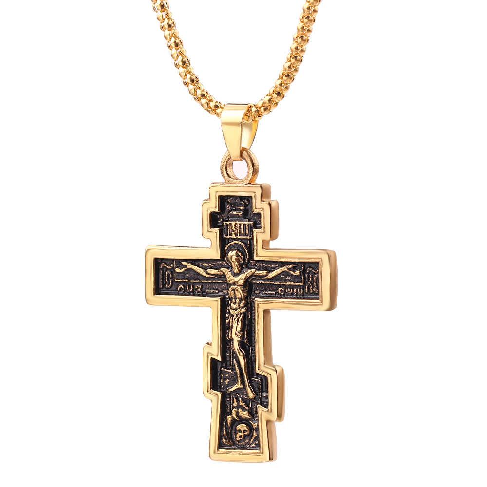 Kristen Ortodoks Salib Yesus Cross Liontin Kalung Doa Besar Liontin Salib Yesus Liontin Perhiasan Pria Wanita