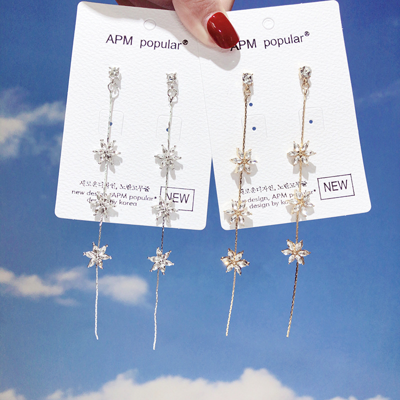 Fashion Retro Small Fresh Inlaid Zircon Gold  Silver Colour Flower Long Earrings Wedding Party Banquet Accessories Jewelry