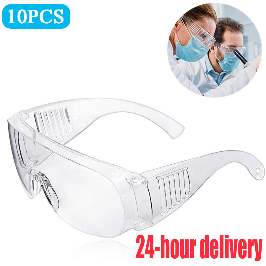 10PCS Transparent Safety Goggles Anit-Splash Protective Glasses Dust-Proof Sand  Lab Dental Eyewear Spectacles Protection Virus