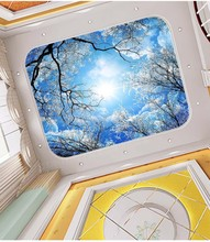 Custom 3D Photo Wallpaper ceilings  winter forest sky blue snow landscape painting ceiling