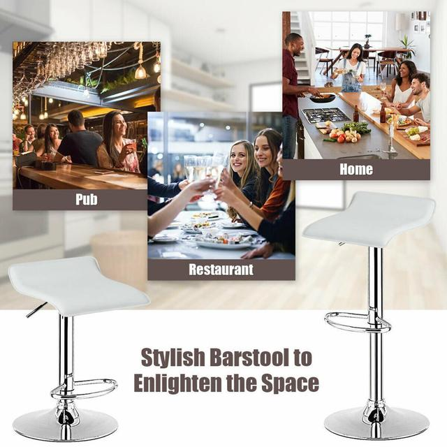 Set of 4 Swivel Bar Stool PU Leather Adjustable Kitchen Counter Chair 4