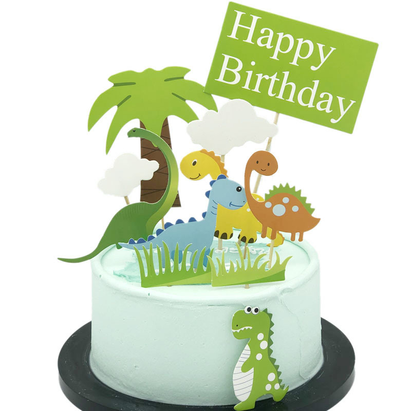 Terrific Cakelove Cute Dinosaur Cake Topper Coconut Tree Happy Birthday Personalised Birthday Cards Bromeletsinfo