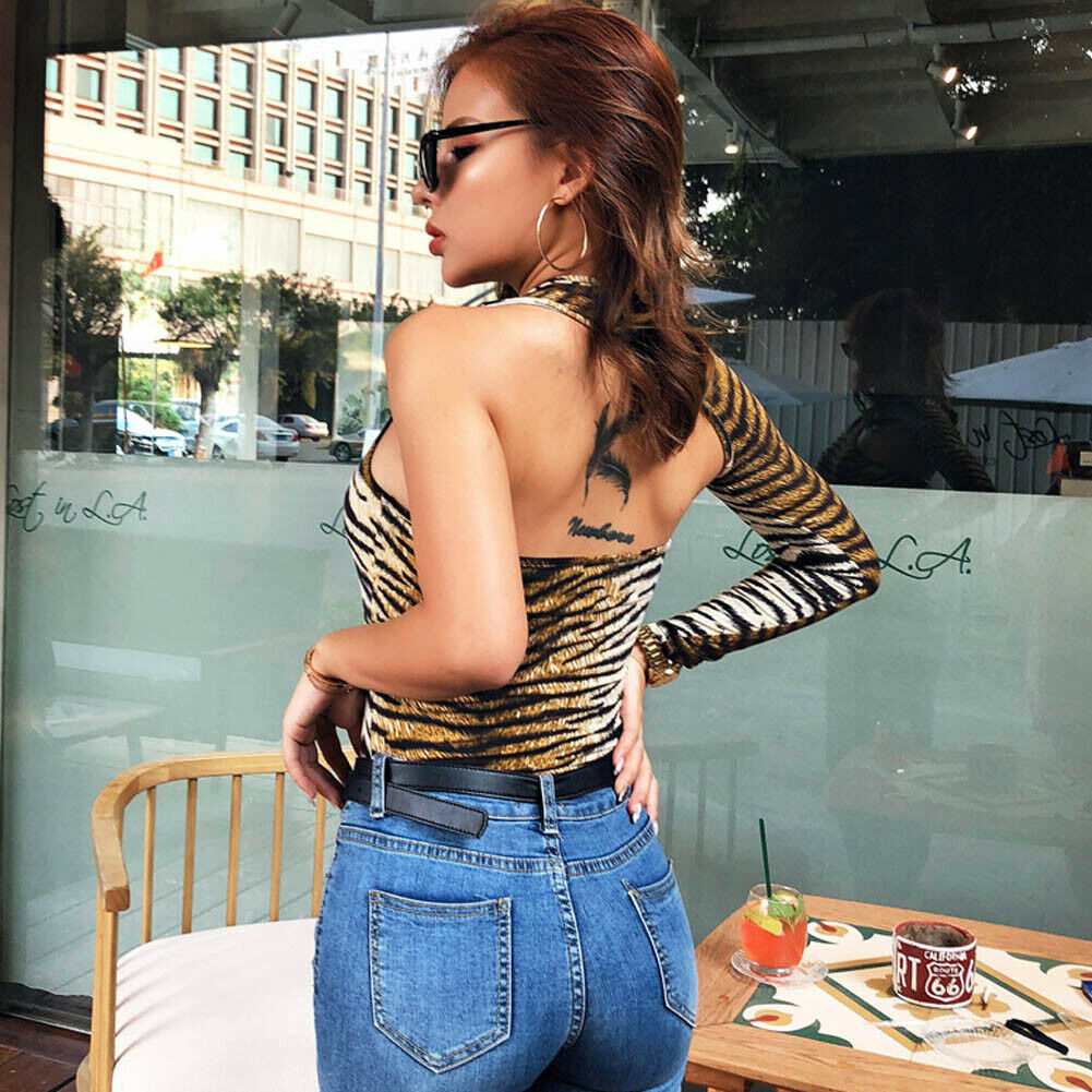 Women One Shoulder Top Leotard Playsuit Party Open Back Jumpsuit Long Sleeve One-Fist Open Back Leotard Top Bodysuits Streetwear
